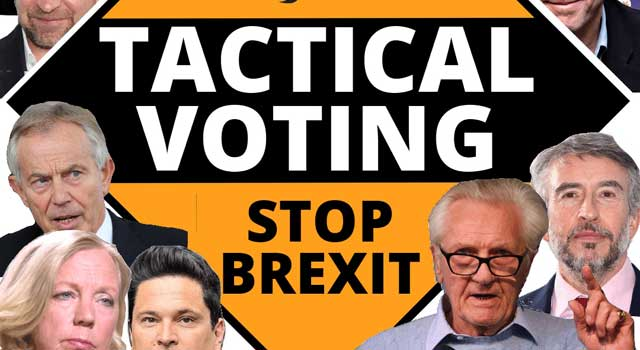 montage of tactical voting celebrities